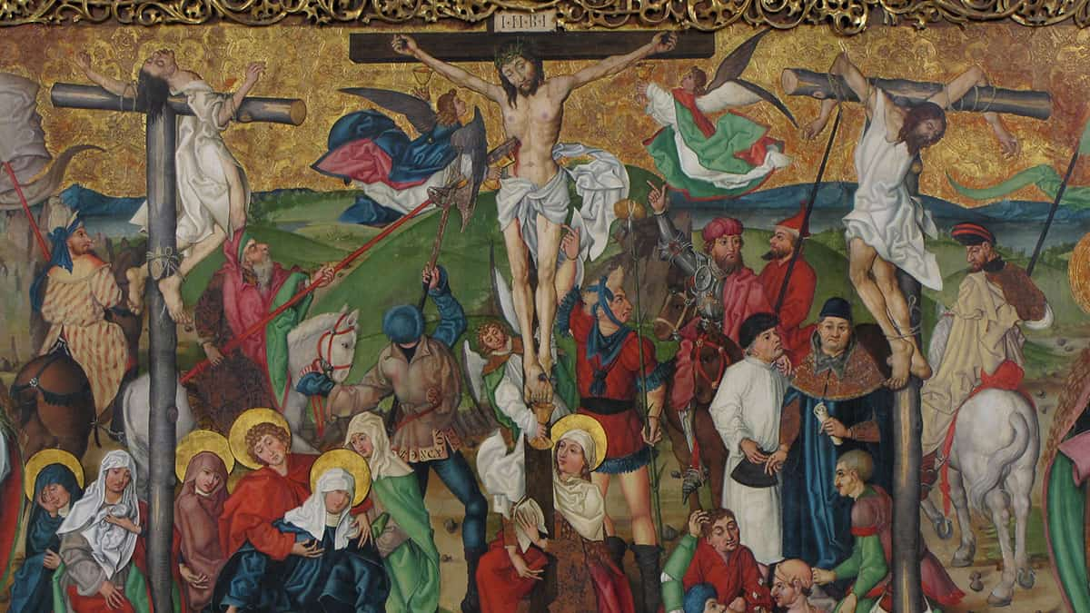 Crucifixion, from the Buhl Altarpiece, a particularly large Gothic oil on panel painting from the 1490s.